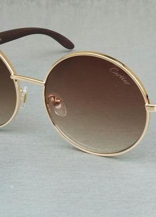 Cartier очки унисекс солнцезащитные круглые коричневые с градиентом в золоте