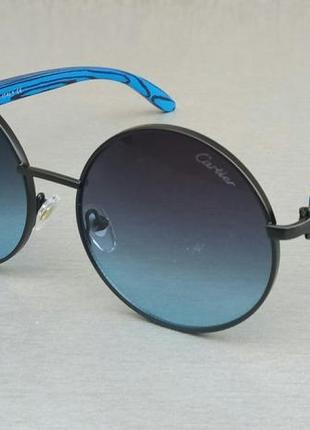 Cartier очки унисекс солнцезащитные круглые синие с зеркальным