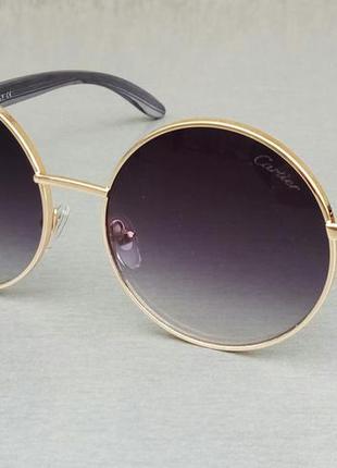 Cartier очки унисекс солнцезащитные круглые черные в золоте