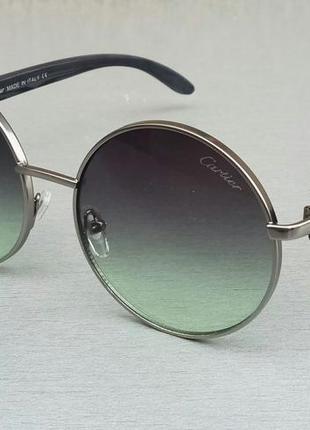 Cartier очки унисекс солнцезащитные круглые серо зеленые с градиентом