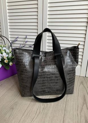 Новая сумка-шоппер под кожу рептилии