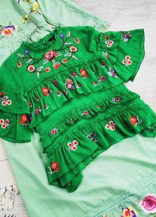 Шифонова блузка з вишивкою  zara зелёная блуза блузка топ с вышивкой