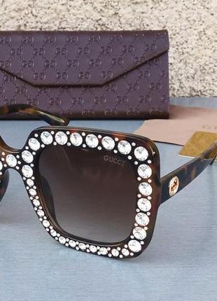 Gucci очки женские солнцезащитные большие коричневые с большими красивыми камнями