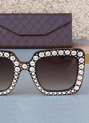 Gucci очки женские солнцезащитные большие коричневые с большими красивыми камнями2 фото