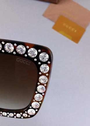 Gucci очки женские солнцезащитные большие коричневые с большими красивыми камнями8 фото