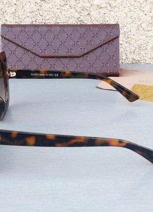 Gucci очки женские солнцезащитные большие коричневые с большими красивыми камнями3 фото