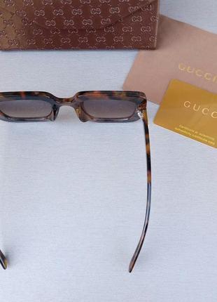 Gucci очки женские солнцезащитные большие коричневые с большими красивыми камнями4 фото