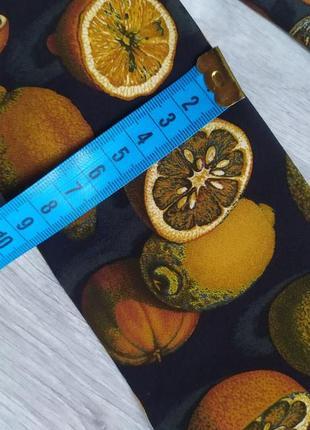 Винтажный галстук краватка yves saint laurent ив сен лоран с мандаринами лимонами винтаж4 фото