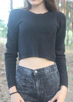 Супер стильный и актуальный укороченный свитер чёрного цвета от h&m