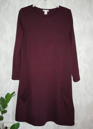 Платье свободного кроя из плотного трикотажа, с карманами, цвет марсала