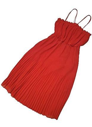 Шикарное красное платье бюстье mng из гофрированного шифона, турция