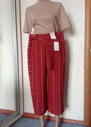 Льняные кюлоты брюки бриджи штаны полоска