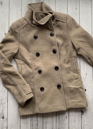 Пальто бежевое куртка h&m xxs, xs, s, m жакет курточка полупальто демисезонная2 фото