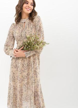 Платье беж. принт (4 расцветки)