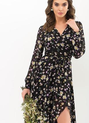 Платье черное в цветы женское на поясе