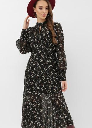Платье черное принт (4 расцветки)