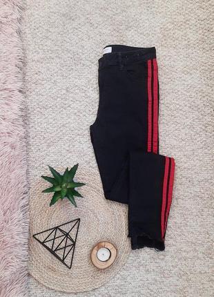 Чорні/джинси/з/лампасами/джинсы/черные