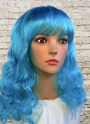 Парик маскарадный голубые длинные волосы