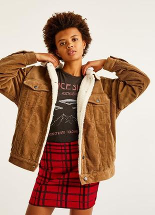 Вельветовая куртка с мехом шерпа. утеплённая джинсовка oversize