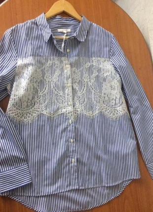 Стильна блуза з мереживом в смужку