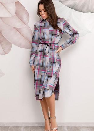 Серое клетчатое платье-рубашка,миди,все размеры