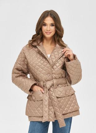 Стёганая куртка в рубашечном стиле капучино