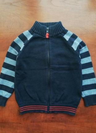 Хлопковый свитер на молнии mothercare 2-3 года, джемпер реглан кофта мазекеа хлопок