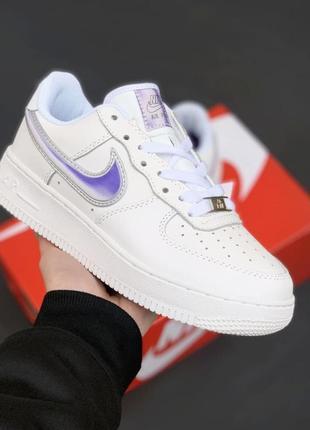 Nike air force 1 white/reflective кроссовки женские, кожаные, найк