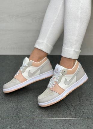 Nike air jordan 1🆕шикарные женские кроссовки🆕кожаные розово-белые найк🆕жіночі кросівки🆕