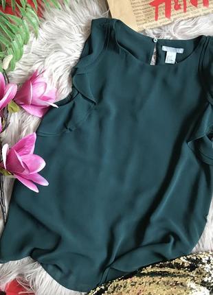 Блуза h&m 36 размер 6 s изумруд зелёная футболка