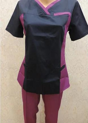 """Медицинский хирургический коттоновый женский костюм """"лилия """" 42-56, разные цвета."""