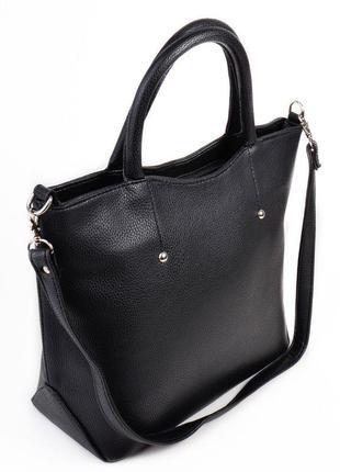 Черная деловая женская сумка матовый качественный кожзаменитель