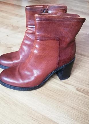 Шкіряні черевики на флісі на каблуку