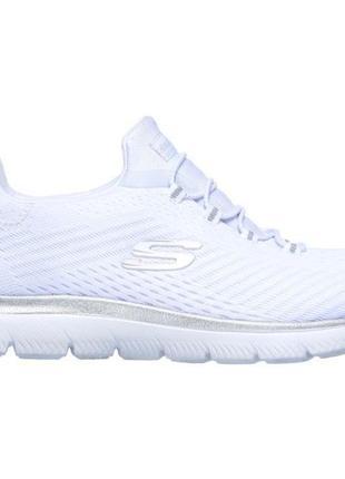 Білі жіночі кросівки скетчерс / текстильные женские кроссовки skechers