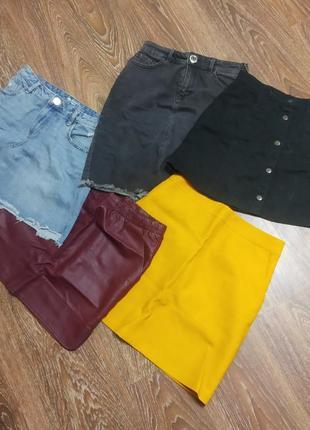 Юбки кожаная , джинсовая юбки