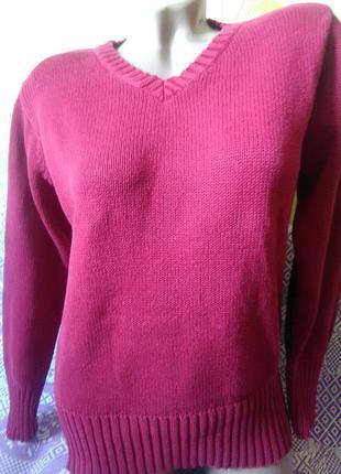 Полувер цвета спелой вишни, свитер 100% cotton