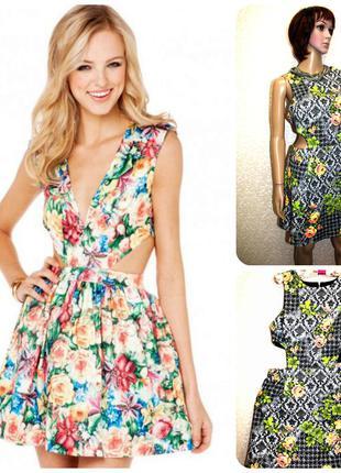 Невероятно стильное платье с вырезами на талии с молнией на спине юбка идет в складочку