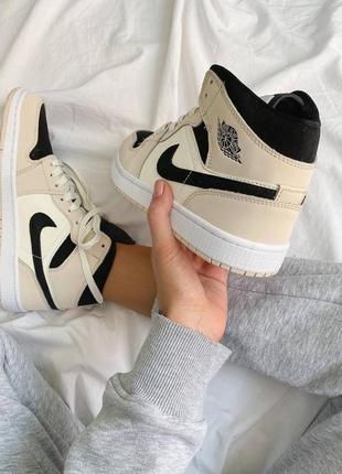 Nike air jordan 1 beige/black