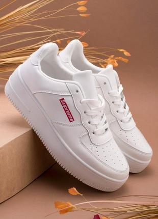 Стильные белые кроссовки на платформе толстой подошве кеды криперы