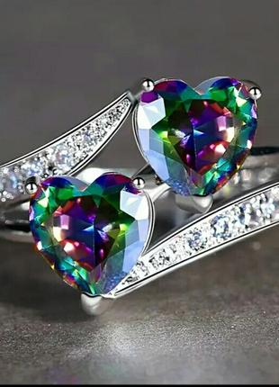 Кольцо для любимой фианиты сердце размер 17 размер 18