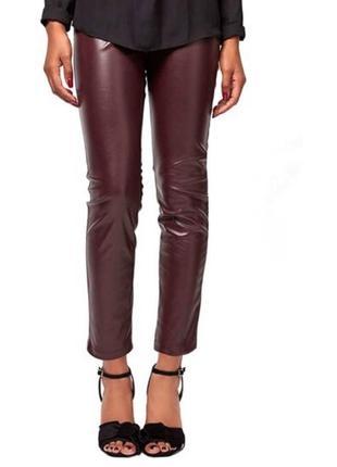 Укороченные брюки леггинсы штаны с высокой посадкой бургунди ягодный