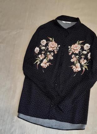 Красивая рубашка вискоза чёрная в горошек в цветы принт длинный рукав р.18 tu