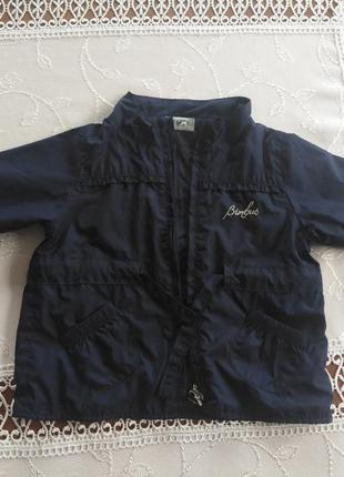 Куртка вітровка, тонка курточка на дівчинку, синя куртка