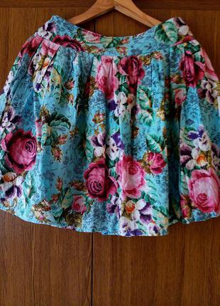 """Шикарная летняя юбка в цветочный """"мозаичный"""" принт"""