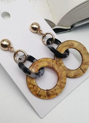Серьги длинные бижутерия кольца круглые модные