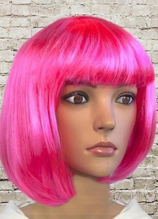 Парик каре маскарадный розовый