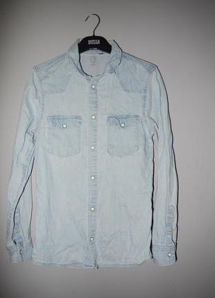 Джинсовая рубашка slim fit  100% котон
