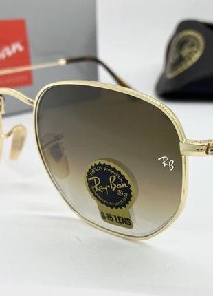 Ray ban очки женские  солнцезащитные коричневые пятигранки с минеральними линзами
