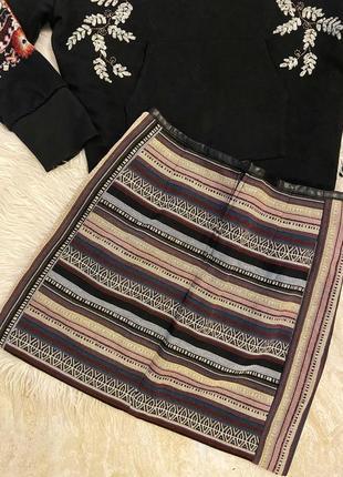 Юбка с узорами чёрная этно бохо стиль