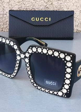 Gucci очки женские солнцезащитные большие черные с камнями
